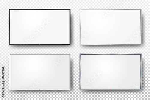 Set of realistic TV screen  Modern lcd wall panel, led type