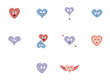 Set of vector icons with various heart shape - 151443499