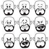 Vector Bald Man Face Expression - 151449670