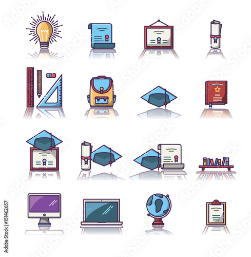 Set of various educational vector icons © vectorfusionart