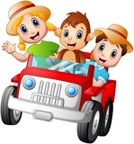 Happy kids driving a car with a monkey
