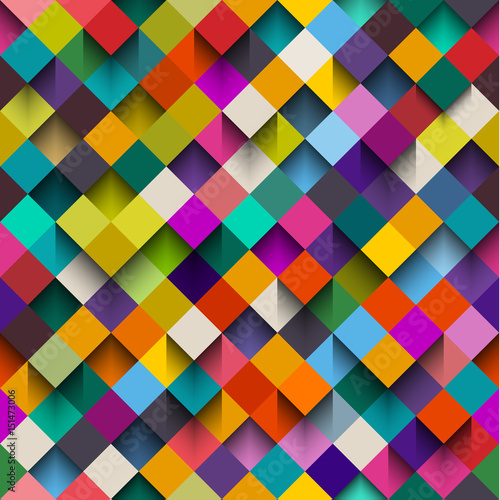 Seamless background pattern with squares and shadows, eps10 vector - 151473006