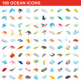 100 ocean icons set, isometric 3d style