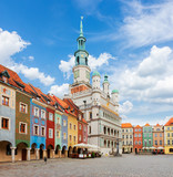 Old market square in Poznan with city hall at sunny day, Poland
