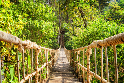 Beautiful footbridge made from rope and bamboo