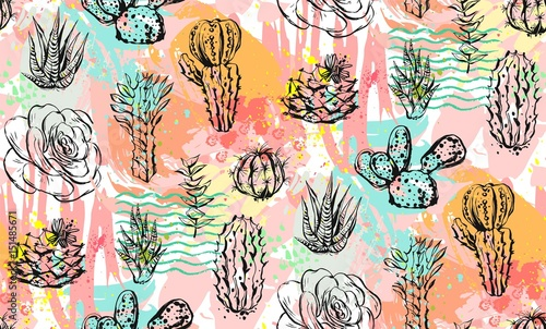 Hand drawn vector abstract graphic creative succulent,cactus and plants seamless pattern on colorful artistic brush painted background.Unique unusual hipster trendy design.Hand made graphic art - 151485671