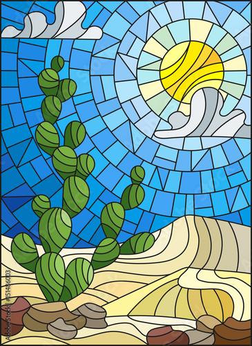 ilustracja-w-witraz-stylu-malowania-z-krajobraz-pustyni-kaktus-w-lbackground-wydmy-niebo-i-slonce