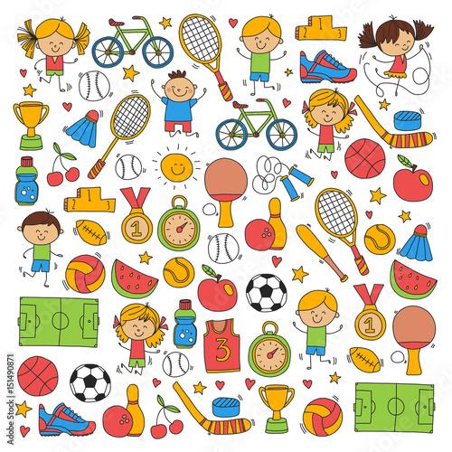 Children sport Fitness Football Volleyball Tennis Basketball Bicycle Running Award Baseball Kids sport for boys and girls Vector pattern - 151490871