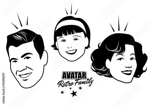 Avatar Retro Family. Cartoon faces retro style. Vector illustration.