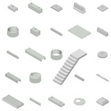 Fototapety Set the iron concrete products isometric, vector illustration.