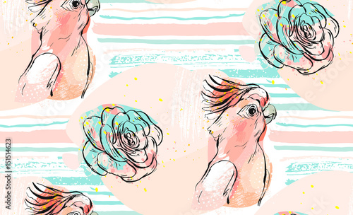 Hand drawn vector abstract collage seamless pattern with tropical parrot and succulent flower in pastel background on stroke hand made texture isolated on white background.Wedding,birthday,fabric. - 151514623