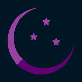 Icon in a flat style Ramadan moon and stars