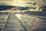 Wooden bridge over steamy terrain in Yellowstone National Park, color toning applied, Wyoming, USA.