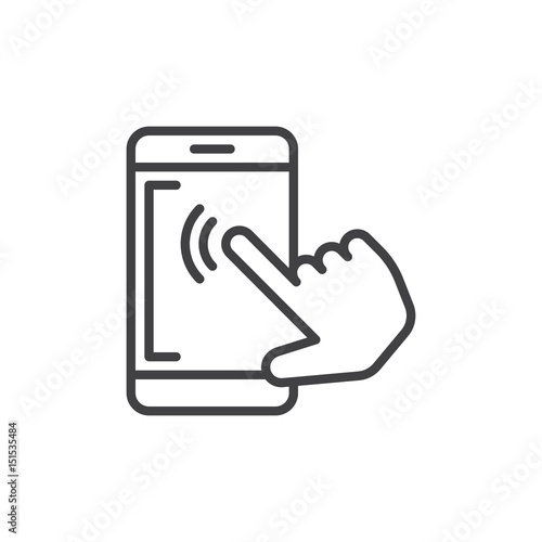 Smartphone touchscreen tap outline icon, line vector sign, linear style pictogram isolated on white. Symbol, logo illustration. Editable stroke. Pixel perfect