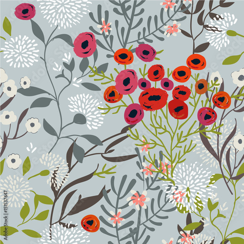 Vintage Floral Seamless Pattern - 151537647