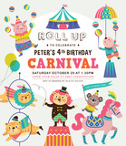 Kids birthday party invitation card with circus theme - 151538088