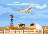 Countryside vector illustration, farm on desert.