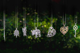 necklaces hang elephant key heart green background - 151549845