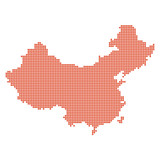 China map dotted red shape contour