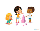 Fototapety Multiracial children build tower with pink blocks. Kids play using kit with bright colored cubes. Montessori materials concept. Vector illustration for poster, banner, website, flyer, advertisement.
