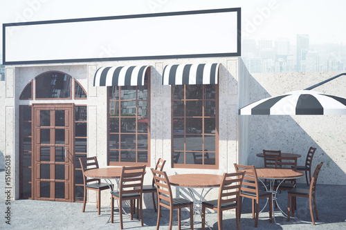 Cafe exterior with empty banner