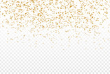 Vector realistic golden confetti on the transparent background. Concept of happy birthday, party and holidays. - 151636638