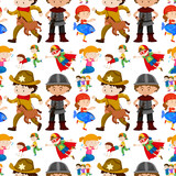 Seamless background design for kids in different costumes