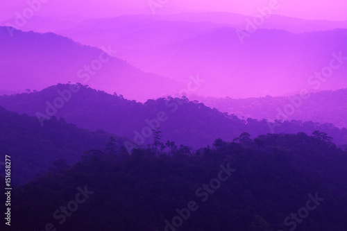 Foto op Canvas Violet Layered mountain covered with fog in cool winter.
