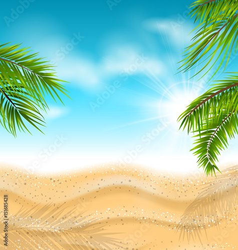 Tropical Beach with Sand, Sea, Palm Leaves, Sun, Sky, Clouds