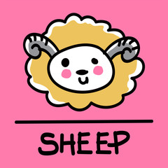 sheep hand-drawn style,Vector illustration.