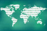 Binary code and world map as abstract technology concept