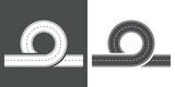Icono plano carretera en bucle gris y blanco - 151740006