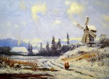 oil paintings landscape, winter in Ukraine, road and windmill