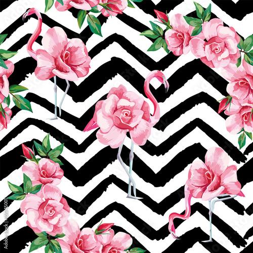 flamingo-roz-wzor-czarny-bialy-zygzak-tlo