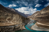 Confluence of Indus and Zanskar river at Nimu village in the Indian Himalaya. Ladakh, India