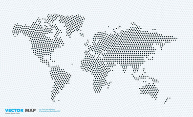 Vector world map with rounds, spots, dots for business templates