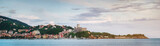 Scenic panoramic view of Lerici town skyline at sunset, Liguria, Italy. Picturesque italian riviera postcard.