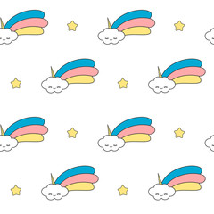 cute cartoon unicorn clouds with rainbow funny seamless vector pattern background illustration