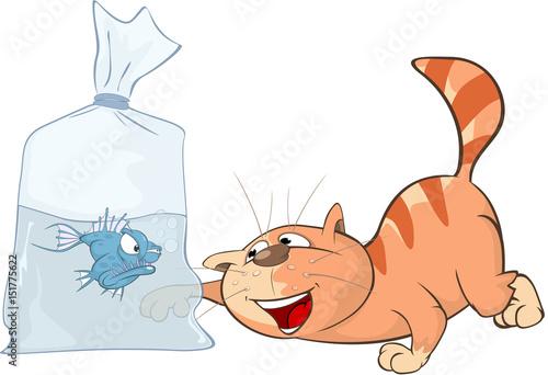 Deurstickers Babykamer Illustration of a Cute Cat. Cartoon Character