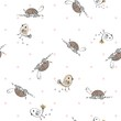 Vector cute seamless pattern with cartoon animal