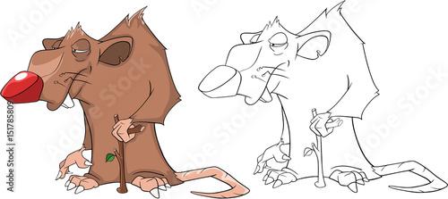 Deurstickers Babykamer Illustration of a Cute Rat. Cartoon Character. Coloring Book