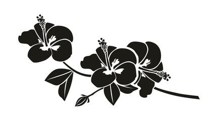 Schwarze Silhouette eine Hibiskus Blume