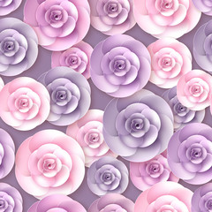 Vector roses flowers seamless pattern