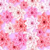 Vector Gerbera flowers seamless pattern