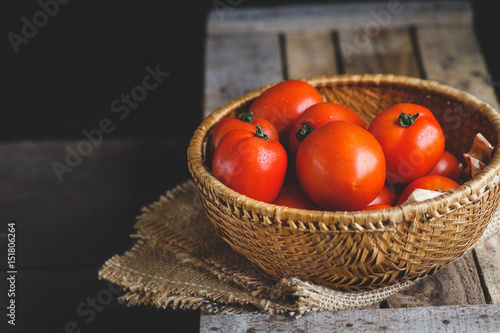 Ripe Tomatoes on the dark background