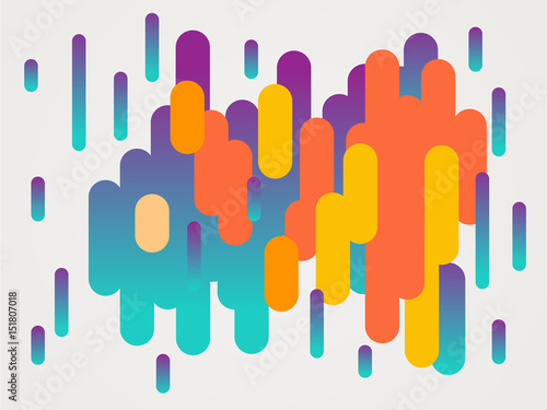 Colorful modern style abstract graphic with composition from various rounded shapes - 151807018