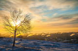 A beautiful winter dawn. Amazing sunset and the view is not the city from the mountain. Saratov, Russia