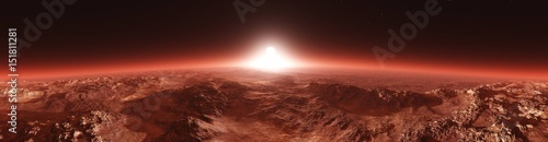 Papiers peints Marron Mars from orbit, panorama of Mars, Marsim landscape, sunrise over Mars, 3D rendering