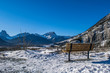 bench with Canadian mountain scene and blue sky