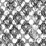 abstract geometric pattern seamless background, with strokes and splashes, black and white
